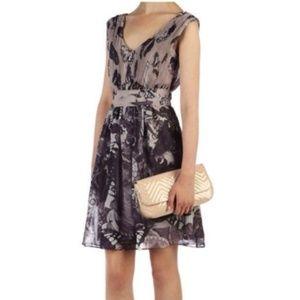 Ted Baker Yamka Butterfly V Neck Dress USA Size 4